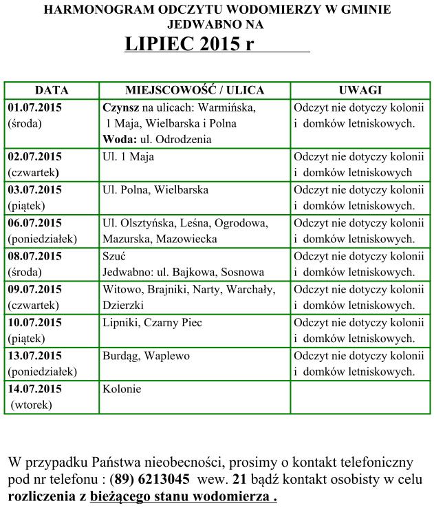Harmonogram Lipiec 2015