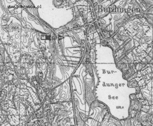 Schron w Burdągu oznaczony na niemieckiej mapie sztabowej