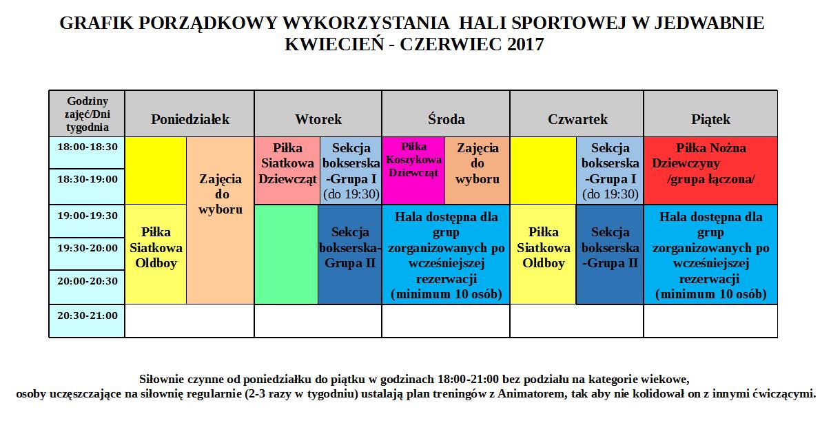 """0424a09f Grafik otwarcia Hali Sportowej i Kompleksu """"Orlik"""" w Jedwabnie: kwiecień –  czerwiec 2017 r."""